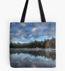 Reflected trees and sky Tote Bag