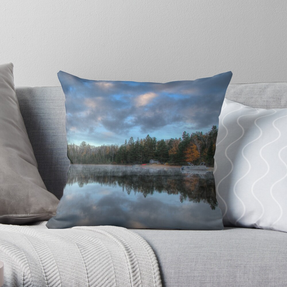 Reflected trees and sky Throw Pillow