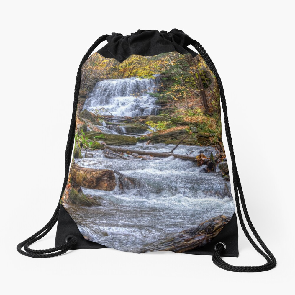 Forest waterfall Drawstring Bag