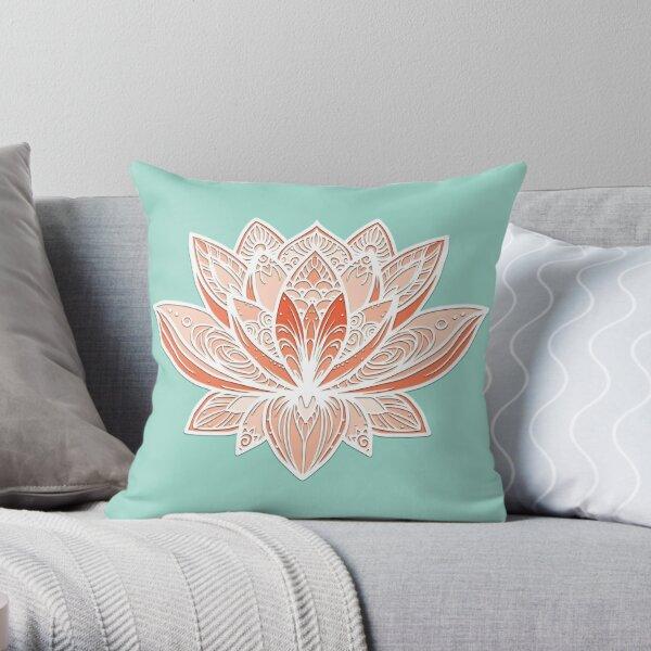 Lotus Mandala (Cantaloupe Peach) Throw Pillow