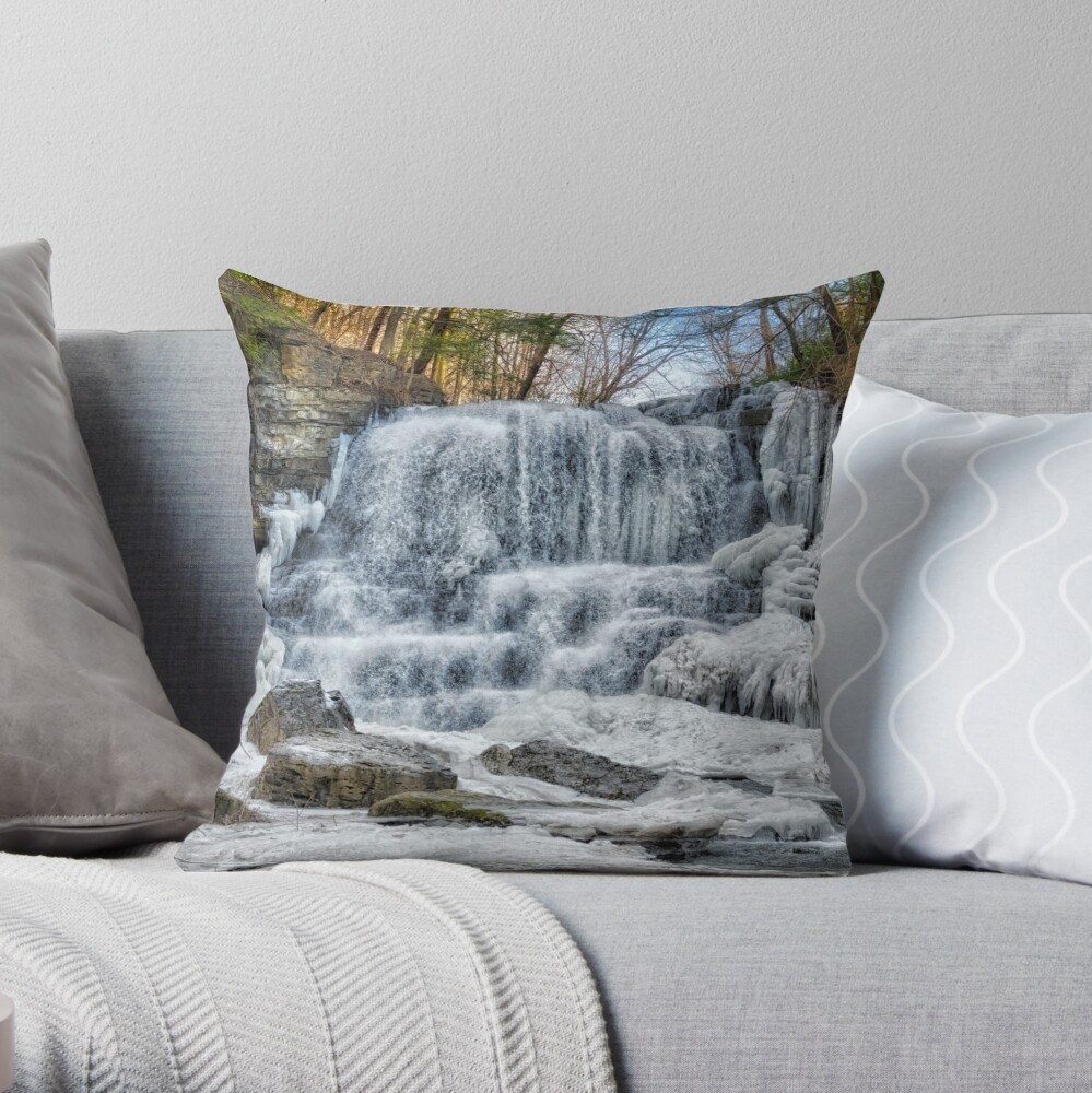 Melting waterfall Throw Pillow