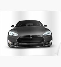Gray Tesla Model S luxury electric car front view isolated on white art photo print Poster
