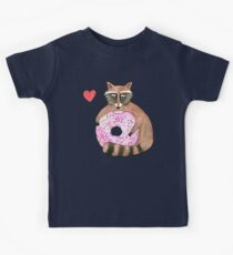 Raccoon Loves Giant Donut Kids Tee