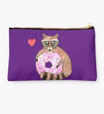 Raccoon Loves Giant Donut Studio Pouch