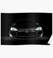 Black Tesla Model S luxury electric car front view art photo print Poster