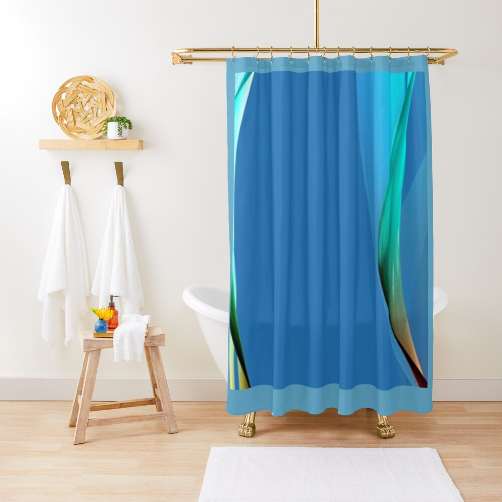 Different shades of blue  with a little brown that looks to me like waves   coming in from the ocean Shower Curtain