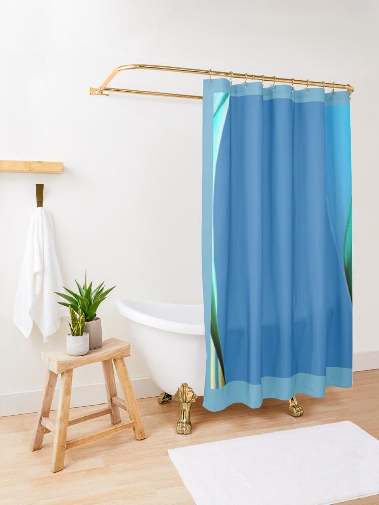Alternate view of Different shades of blue  with a little brown that looks to me like waves   coming in from the ocean Shower Curtain
