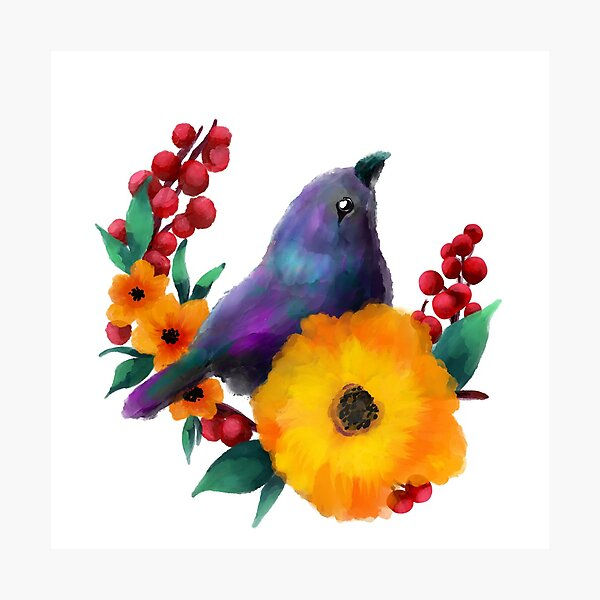 Birds of flowers Photographic Print