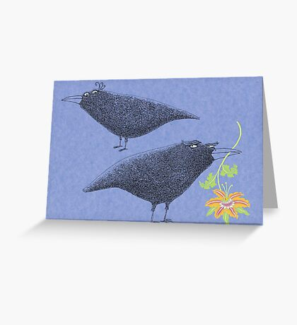 Lovebirds with flower courtship Greeting Card