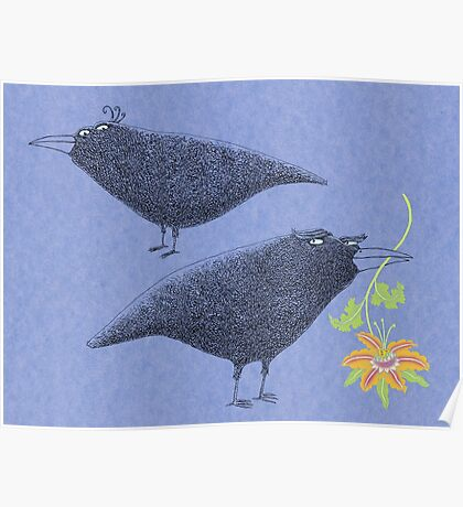 Lovebirds with flower courtship Poster
