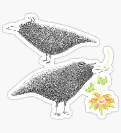 Lovebirds with flower courtship Sticker