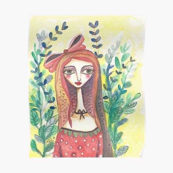 Girl in Polkadot Dress Poster