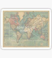 Adventure Awaits World map Sticker