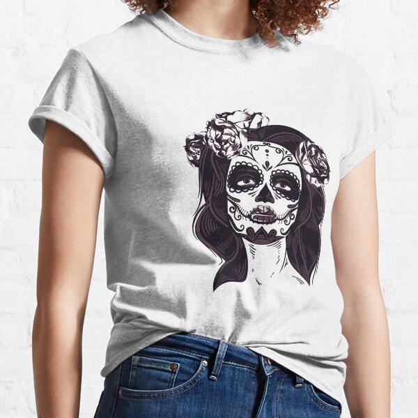 La Calavera Catrina Skull, flores de catrina Camiseta clásica