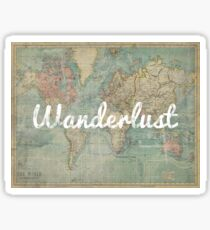 wanderlust on vintage map Sticker
