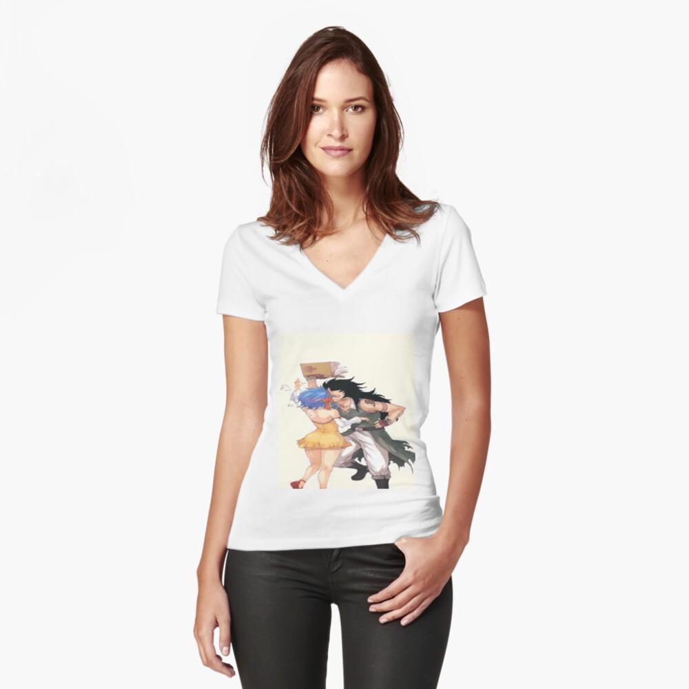 gajeel Tailliertes T-Shirt mit V-Ausschnitt