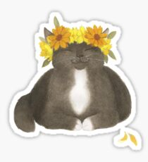Black Cat With Yellow Flowers Sticker