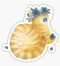 Flower Cat - Yellow Striped With Blue Sticker