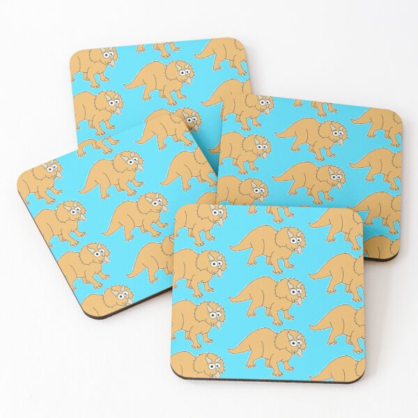 Cute Triceratops - on blue Coasters (Set of 4)