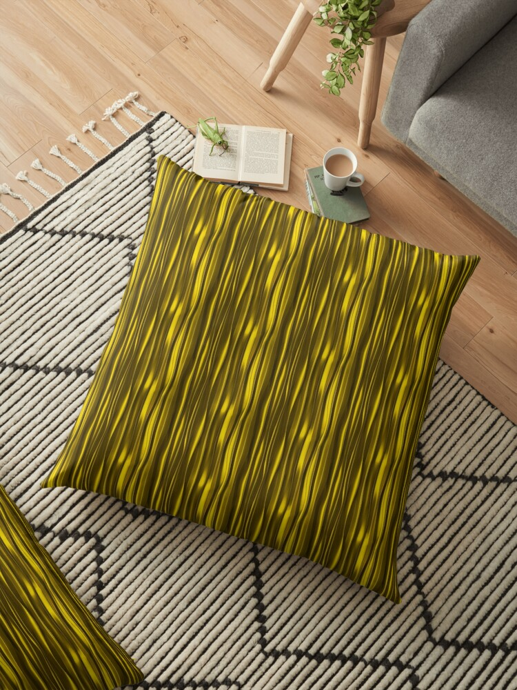 Black & yellow gold on Floor Pillow, shop with prints on demands,mugs,t shirt,pillows
