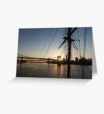 Tall Ship and Brooklyn Bridge - Iconic New York City Sunrise Greeting Card