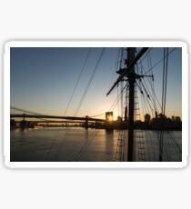 Tall Ship and Brooklyn Bridge - Iconic New York City Sunrise Sticker