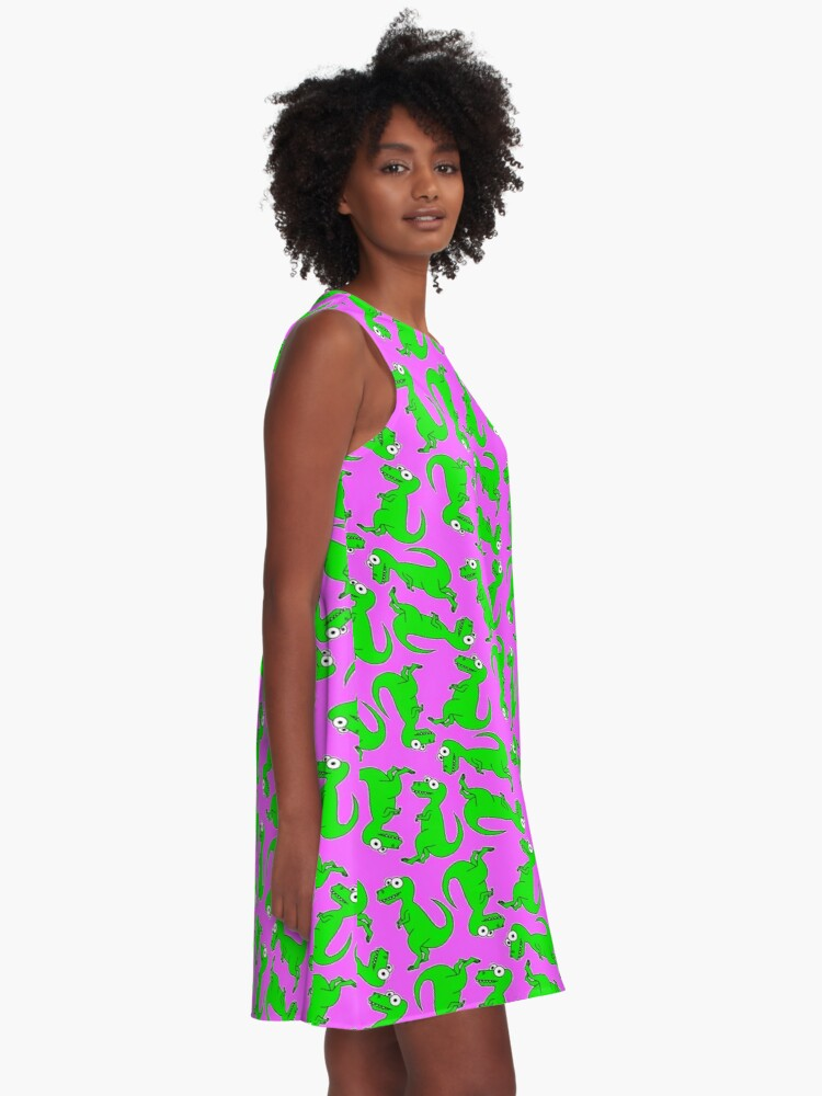 Alternate view of Cute T-Rex - on pink A-Line Dress