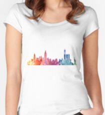 New York Colourful Skyline 2 Women's Fitted Scoop T-Shirt