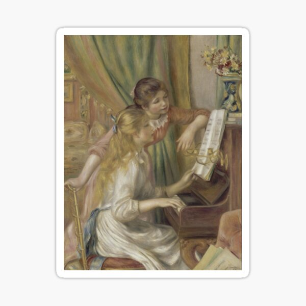 Young Girls at the Piano, by Pierre-Auguste Renoir Sticker