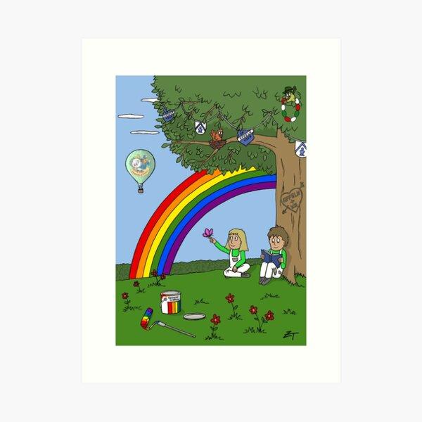 Zeichenteufel - Regenbogen in Effeln Kunstdruck