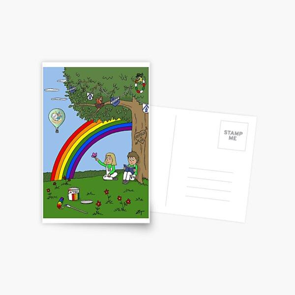 Zeichenteufel - Regenbogen in Effeln Postkarte