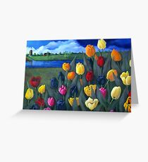 Dutch Tulips, Flowers, Original Floral Painting Greeting Card