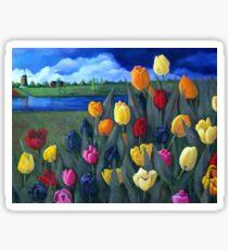 Dutch Tulips, Flowers, Original Floral Painting Sticker