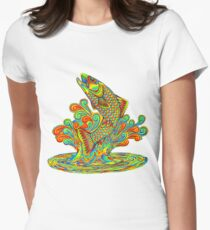 Psychedelic Rainbow Trout Fish Womens Fitted T-Shirt