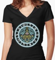 Gravity Falls Bill Cipher Wheel Women's Fitted V-Neck T-Shirt