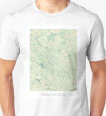 Manchester Map Blue Vintage Unisex T-Shirt