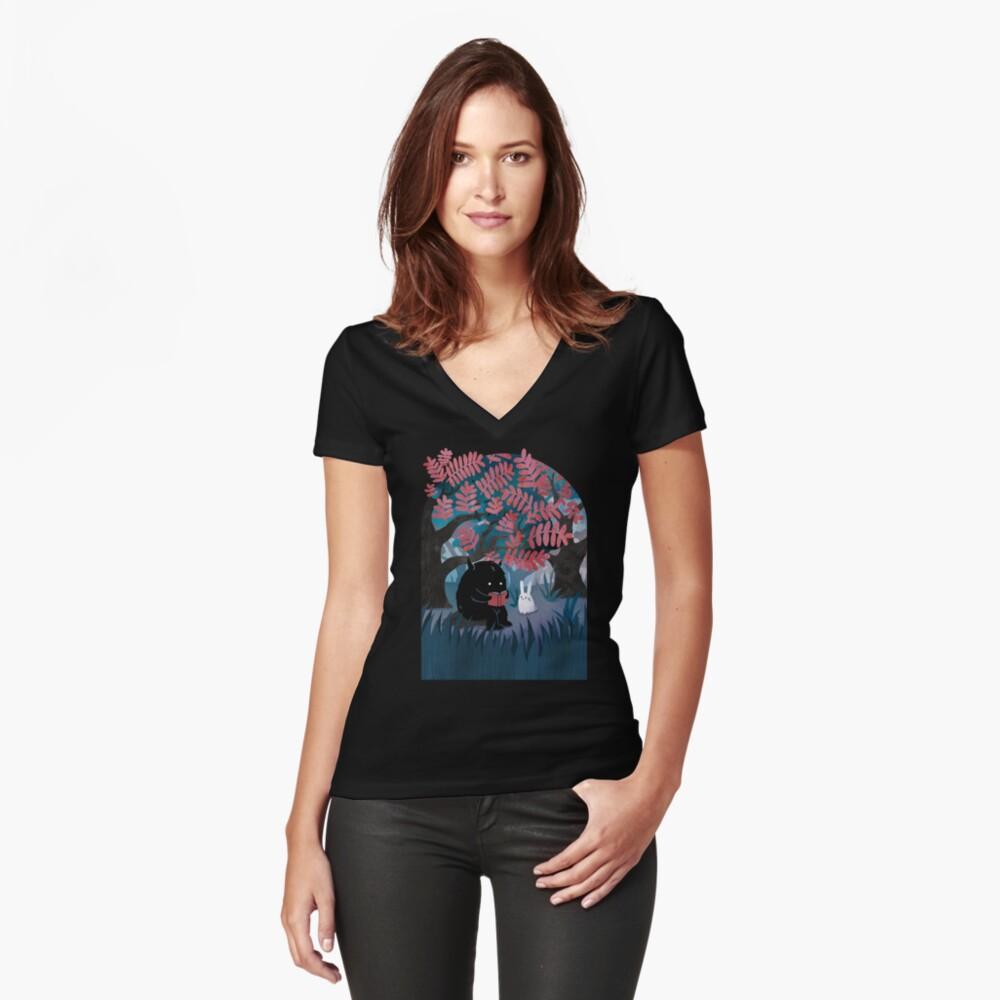 Ein weiterer ruhiger Ort Tailliertes T-Shirt mit V-Ausschnitt