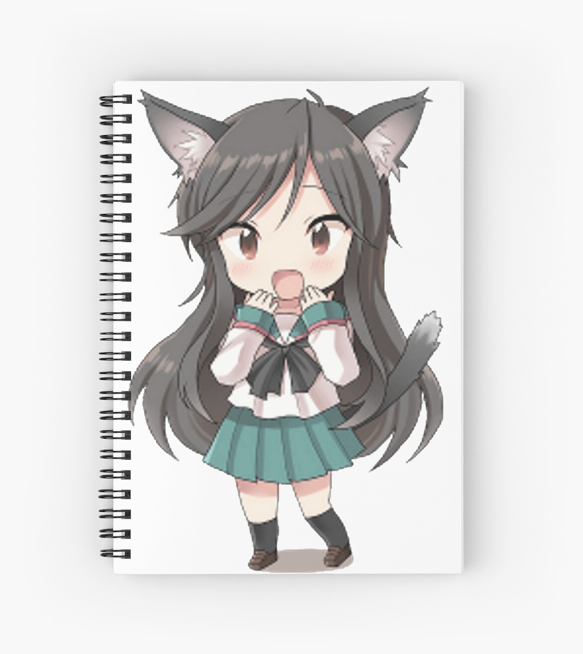 Wall Decor Stickers For Girls Quot Anime Cat Girl Chibi Quot Spiral Notebooks By Xithyll Redbubble