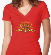 Crazy Drums Women's Fitted V-Neck T-Shirt