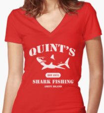 Quint's Shark Fishing Women's Fitted V-Neck T-Shirt