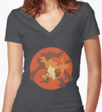 Chimchar Evolutions Women's Fitted V-Neck T-Shirt