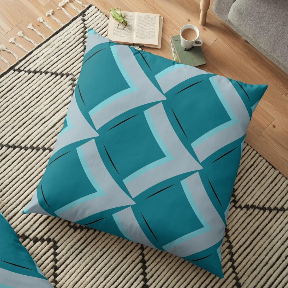 Modern Abstract Geometric Pattern Blue Grey Design 1119 Floor Pillow