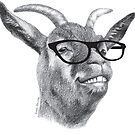Smiling Hipster Goat Sketch by IconicTee