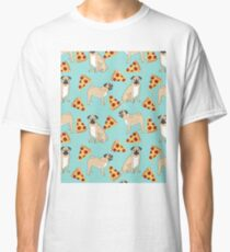 Pizza Pugs cute pet portraits funny puggle puppy dog pizza junk food dog gift trendy hipsters Classic T-Shirt