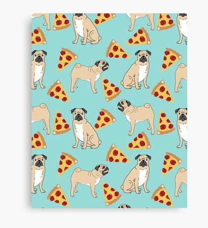 Pizza Pugs cute pet portraits funny puggle puppy dog pizza junk food dog gift trendy hipsters Canvas Print
