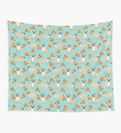 Pizza Pugs cute pet portraits funny puggle puppy dog pizza junk food dog gift trendy hipsters Wall Tapestry
