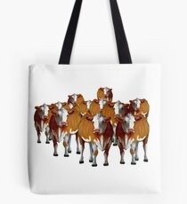 Crowd of Cows: Original Art, Cattle, Livestock Tote Bag