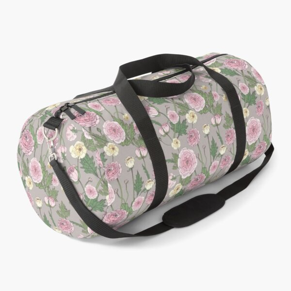 Ranunculus Flowers with Leafs pattern Duffle Bag