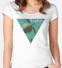 Sea turtle ocean adventure wanderlust hipster boho typography photo Women's Fitted Scoop T-Shirt