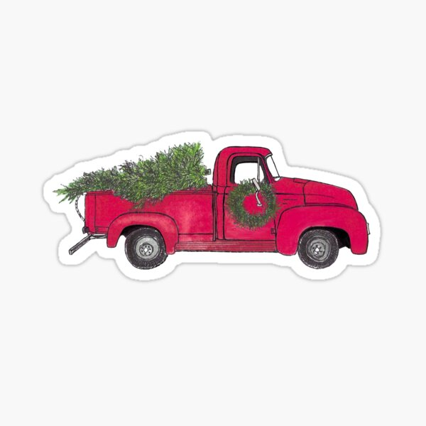 Old Red Truck with Christmas tree Sticker